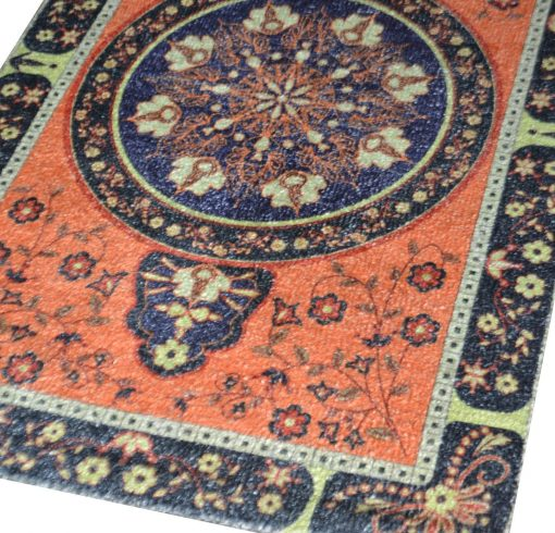 Avioni Faux Silk Carpet – 3D Printed Ethnic Collection in Border – 92×152 cm (3×5 Feet)