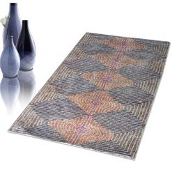 Avioni Faux Silk Carpet – 3D Printed Neo Collection Multi Waves – 92×152 cm (3×5 Feet)