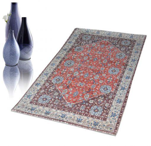 Avioni Faux Silk Carpet – 3D Printed Ethnic Collection Multi – 92×152 cm (3×5 Feet)