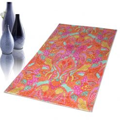 Avioni Faux Silk Carpet – 3D Printed Ethnic Collection Pink Tribal – 92×152 cm (3×5 Feet)