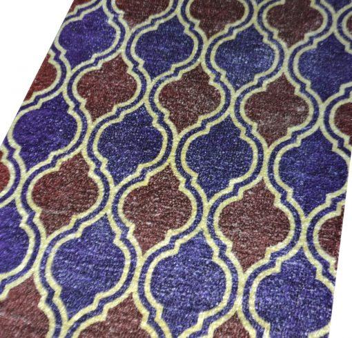 Avioni Faux Silk Carpet – 3D Printed Neo Collection Blue Moroccon – 92×152 cm (3×5 Feet)