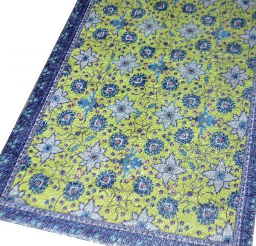 Avioni Faux Silk Carpet – 3D Printed Ethnic Collection Floral Blue – 92×152 cm (3×5 Feet)