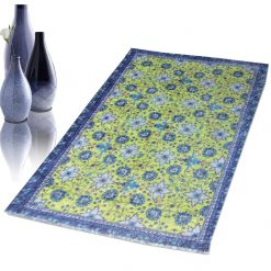 Avioni Faux Silk Carpet – 3D Printed Ethnic Collection Floral Blue – 92×152 cm (3×5 Feet)