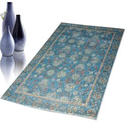Avioni Faux Silk Carpet – 3D Printed Ethnic Collection Blue Persian – 92×152 cm (3×5 Feet)