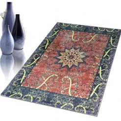 Avioni Faux Silk Carpet – 3D Printed Neo Collection Abstract Mandala -92×152 cm (3×5 Feet)