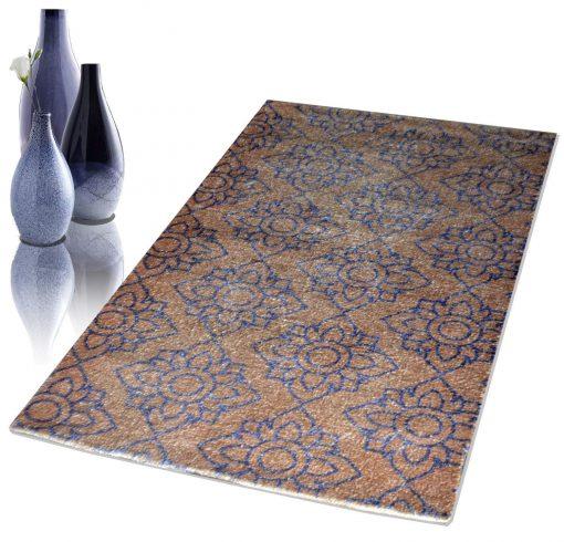 Avioni Faux Silk Carpet – 3D Printed Neo Collection Floral Pattern – 92×152 cm (3×5 Feet)