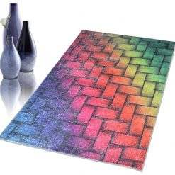 Avioni Faux Silk Carpet – 3D Printed Neo Collection Multi Bricks – 92×152 cm (3×5 Feet)