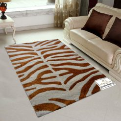 Avioni Shaggy Carpets Zebra Prints Brown- 92×152 cm (3 Feet X 5 Feet)