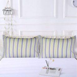 AVIONI 100% Cotton Pillow Covers – Set of 2 (Medium Size) Blue Lines