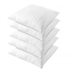 Avioni Cushion Inserts – High Quality Fiber Filler – Satin Stripe Outer Cover- 16X16 Inch – White -Set of 5 Cushion Fillers