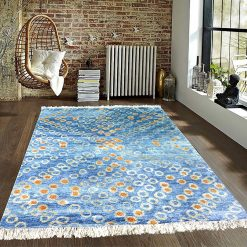 Hand Knotted Silk Carpet Blue  Around 225 Knots Per Sq Inch – 122 cm x 183 cm (4 x 6 feet)- A Gift For Generations