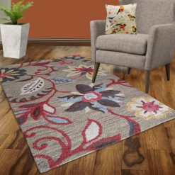 Avioni Wool Carpet Loop Piled Hand Tufted Floral Brown With Red Florals – 92×152 cms ( 3×5 Feet)