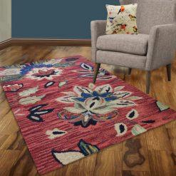 Avioni Wool Carpet Loop Piled Hand Tufted Floral Red Tid-Die – 92×152 cms ( 3×5 Feet)