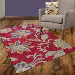 Avioni Wool Carpet Loop Piled Hand Tufted Sunset With Flowers – 92×152 cms ( 3×5 Feet)