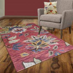 Avioni Wool Carpet Loop Piled Hand Tufted Floral Orange Tie-Die – 92×152 cms ( 3×5 Feet)