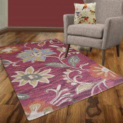 Avioni Wool Carpet Loop Piled Hand Tufted Orange Flower – 92×152 cms ( 3×5 Feet)