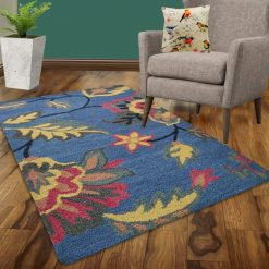 Avioni Wool Carpet Loop Piled Hand Tufted Floral Dark Blue – 92×152 cms ( 3×5 Feet)