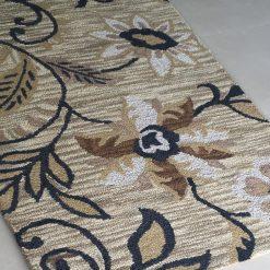 Avioni Wool Carpet Loop Piled Hand Tufted Brown Tie-Die Floral – 92×152 cms ( 3×5 Feet)