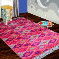 Silk Carpet Kids Collection  – Pink Beauty Kids Room Rug – 3×5 Feet  (90 x 150 cms)-Avioni