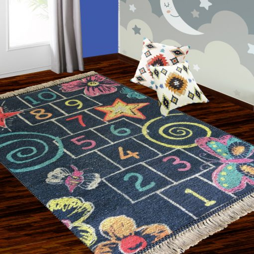 Silk Carpet Kids Collection  – Counting On Kids Room Rug – 3×5 Feet  (90 x 150 cms)-Avioni