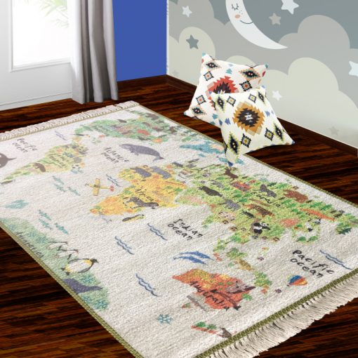 Silk Carpet Kids Collection  – World Map In Kids Room Rug – 4×6 Feet  (120 x 180 cms)-Avioni