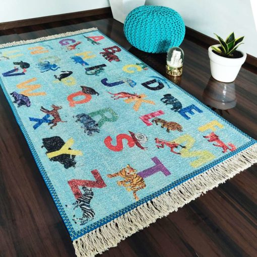 Silk Carpet Kids Collection  – Alphabats With Picture On Kids Room Rug – 3×5 Feet  (90 x 150 cms)-Avioni