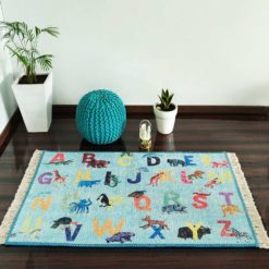 Silk Carpet Kids Collection  – Alphabats With Picture On Kids Room Rug – 4 x 6 Feet  (120 x 180 cms)-Avioni