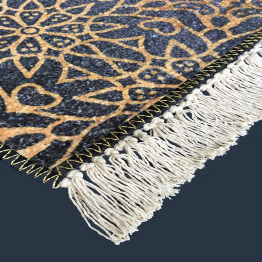 Silk Carpet Modern Design Collection Blue With Gold  – Living Room Rug – 3×5 Feet  (90 x 150 cms)-Avioni