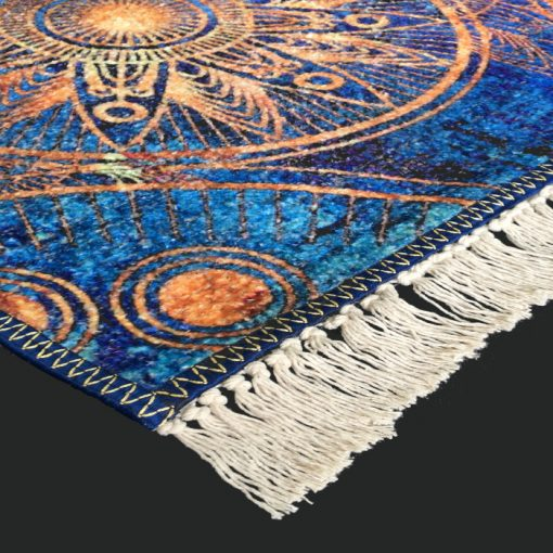 Silk Carpet Modern Design Collection Blue Mandala – Living Room Rug – 3×5 Feet  (90 x 150 cms)-Avioni