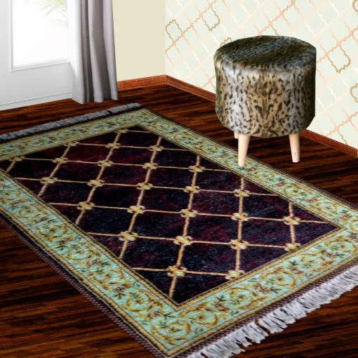 Silk Carpet Persian Design Collection Purple  – Living Room Rug – 3×5 Feet  (90 x 150 cms)-Avioni