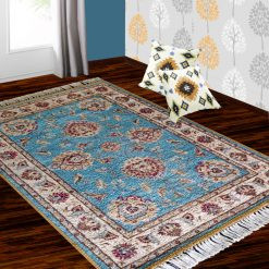 Silk Carpet Persian Design Collection Shiny  Blue  – Living Room Rug -Avioni