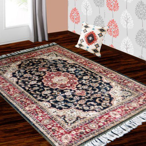 Silk Carpet Persian Design Collection Black andRed  – Living Room Rug – 3×5 Feet  (90 x 150 cms)-Avioni