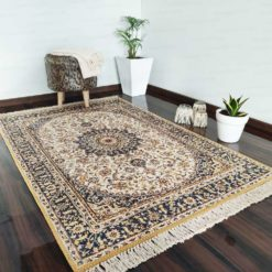 Silk Carpet Persian Design Collection Blue And Beige  – Living Room Rug – 3×5 Feet  (90 x 150 cms)-Avioni
