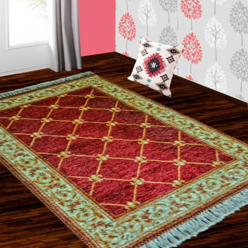 Silk Carpet Persian Design Collection Red – Living Room Rug – 3×5 Feet  (90 x 150 cms)-Avioni