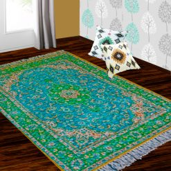Silk Carpet Persian Design Collection Green  – Living Room Rug-Avioni