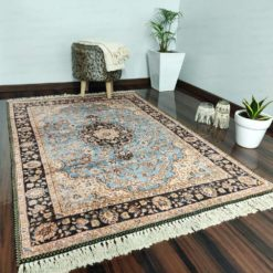 Silk Carpet Persian Design Collection Ethnic Blue  – Living Room Rug – 3×5 Feet  (90 x 150 cms)-Avioni