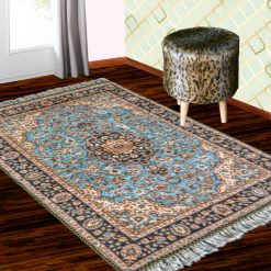 Silk Carpet Persian Design Collection Ethnic Blue  – Living Room Rug – 4×6 Feet  (120 x 180 cms)-Avioni