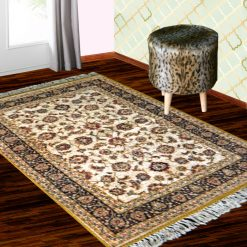 Silk Carpet Persian Design Collection Beige – Living Room Rug – 3×5 Feet  (90 x 150 cms)-Avioni