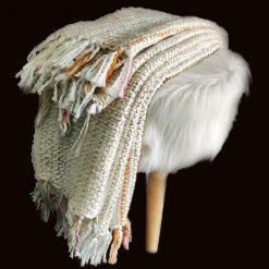 Avioni Sofa Throws/Blankets Super Soft Acrylic Handloom Weaved Cream Multicolour – (Aura Collection)-127×152 cm (50 x 60 Inch)
