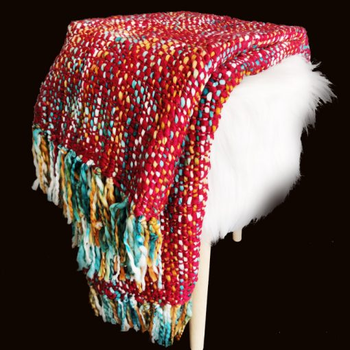 Avioni Christmas Sofa Throws/Blankets Super Soft Acrylic Handloom Weaved Red Multicolour – (Aura Collection)-127×152 cm (50 x 60 Inch)