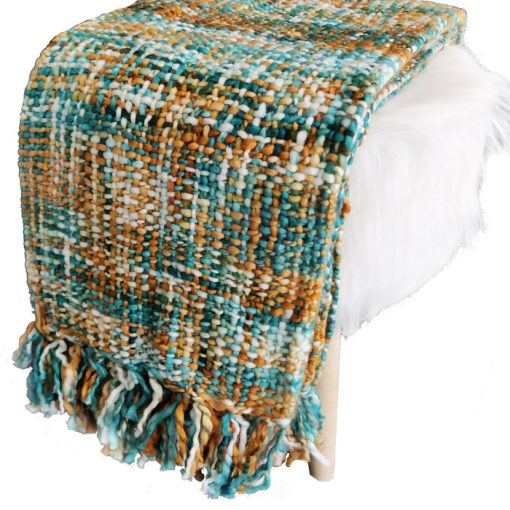 Avioni Sofa Throws/Blankets Super Soft Acrylic Handloom Weaved Blue Multicolour – (Aura Collection)-127×152 cm (50 x 60 Inch)
