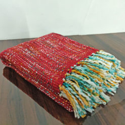 Avioni Christmas Sofa Throws/Blankets Super Soft Acrylic Handloom Weaved Red Multicolour – (Aura Collection)-127×152 cm (50 x 60 Inch)