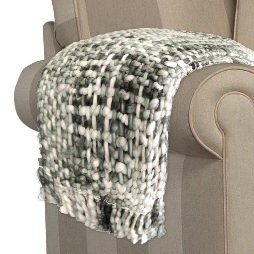 Avioni Sofa Throws/Blankets Super Soft Acrylic Handloom Weaved Heavy Weight Gray – (Elle Collection)-127×152 cm (50 x 60 Inch)
