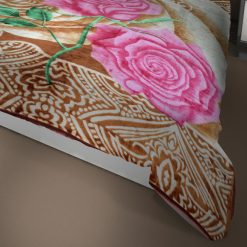 Double Bed Soft Mink Blankets Beige With Pink Flowers For Mild winters