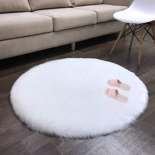Round Rug – Shaggy Carpet – Snow White Premium Long Fur – 60 cm Dia By Avioni