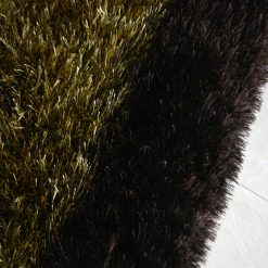 Fur Rug For Living Room|Golden With Coffee Border|By Avioni| 92×152 cm|3×5 Feet