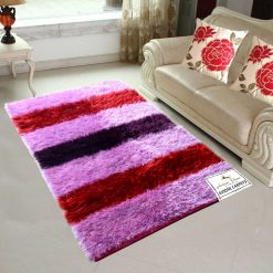 Fur Rug For Living Room|Pink With Multicolour Stripes|By Avioni|92×152 cm|3×5 Feet