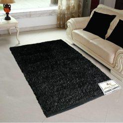 Fur Rug For Living Room|Black With Glitter|By Avioni|122×182 cm|4×6 Feet