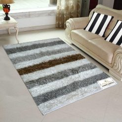 Fur Rug For Living Room|Silver Stripes|By Avioni|92×152 cm|3×5 Feet