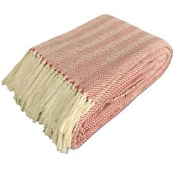 Red Cotton Blankets |Organic Bio Washed|King Sized Double Bed In Giftable Zip Packing By Avioni